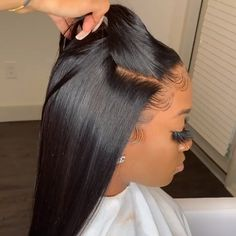 Brazilian Straight Human Hair Wigs Lace Front Hair Wigs With Baby Hair Pre-Plucked Hairline Mellow Hair Short Hair Styles Easy, Medium Hair Styles, Curly Hair Styles, Natural Hair Styles, Wig Styles, Easy Hairstyles For Medium Hair, Straight Hairstyles, Braided Hairstyles, Easy Black Girl Hairstyles