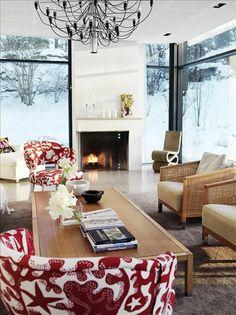Josef Frank's Aristidia fabric on two chairs #josef frank