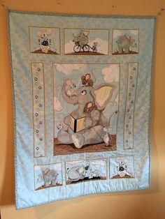 Elephant baby quilt by MrsBibb on Etsy