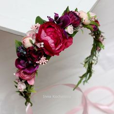 23 Ideas Bridal Flowers Pink Floral Crowns For 2019 Pink Floral Crowns, Floral Crown Wedding, Hot Pink Flowers, Prom Flowers, Floral Hair, Bridal Flowers, Flowers In Hair, Bridal Crown, Floral Flowers