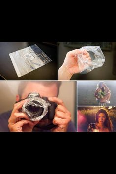 Try wrapping some plastic around the lens of your camera and see what kind of cool light effects you can create!