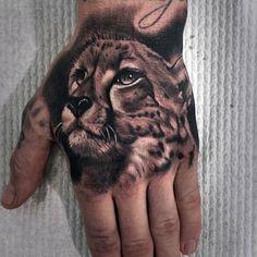 50 Cheetah Tattoos For Men - Big Spotted Cat Design Ideas - 50 Cheetah Tattoos For Men – Big Spotted Cat Design Ideas 50 Cheetah Tattoos For Men – Big Spotted Cat Design Ideas Cute Hand Tattoos, Hand Tattoos For Guys, Boy Tattoos, Animal Tattoos, Body Art Tattoos, Sleeve Tattoos, Hand Tattoos For Men, Big Cat Tattoo, Lion Tattoo