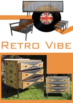 Vinage/Retro Upcycled mid-century chest of drawers for bedroom, living room