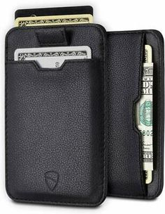 Chelsea Slim Card Sleeve Men's Wallet with RFID Protection by Vaultskin – Top Quality Italian Leather - Ultra Thin Card Holder Design For Up To 10 Cards (Black) Pocket Wallet, Rfid Wallet, Mens Card Holder, Card Holders, Chelsea, Cool Gifts For Teens, Minimalist Wallet, Italian Leather, Leather Wallet