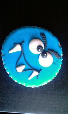Decorated sugar cookie monster