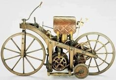 "World's First Motorcycle (1885) – Daimler's riding car    The First Motorcycle was designed and built by the German inventors Gottlieb Daimler and Wilhelm Maybach in Bad Cannstatt (Stuttgart) in 1885. It was essentially a motorised bicycle, although the inventors called their invention the Reitwagen (""riding car""). It was also the first petroleum-powered vehicle."