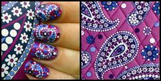 Vera Bradley Inspired Nail Art, by The Quilted Bag