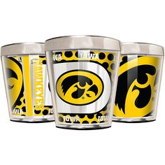 Great American Products Officially Licensed NCAA 3-piece Acrylic & Stainless Steel Shot Glass Set - Iowa Hawkeyes