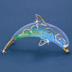 Paradise Dolphin Glass Figurine w/ Swarovski Elements and 22k Gold