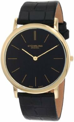Stuhrling Original Men's 601.33351 Classic Ascot Swiss Quartz Ultra Thin Gold Tone Black Leather Strap Watch Stuhrling Original. $79.00. Krysterna scratch resistant crystal. Round stainless steel case and super thin stick markers. Classic and super slim this watch is perfect for the simple guy. Precise Swiss-quartz movement. Water-resistant to 99 feet (30 M). Save 68%!