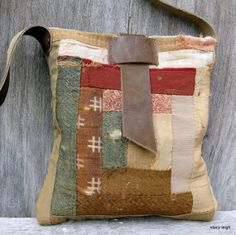 1800's Primitive American Quilt Bag Small Cross Body Style by Stacy Leigh Ready to Ship
