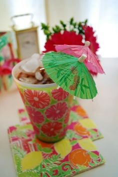 Lilly Party Cups & Coasters