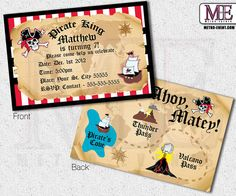 Pirate Invitations Vintage Pirate Invitations by MetroEvents