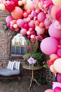I wanted to give a modern twist on the typical balloon arch, and with the help and cleverness from the girls from Poppies for Grace, the most amazing balloon installation was created. Balloon Installation, Balloon Backdrop, Balloon Columns, Balloon Garland, Balloon Decorations, Balloon Ideas, Colourful Balloons, Pink Balloons, Wedding Balloons