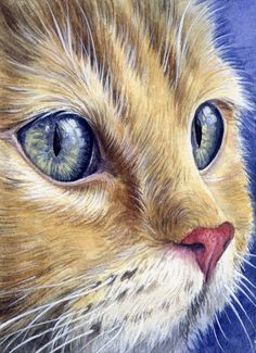 ACEO Original Miniature Watercolor Painting Cats by Elena Mezhibovsky #Miniature