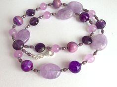 Lavender and Purple Amethyst and Jade Gemstone by roseyandellen
