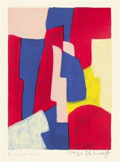 COMPOSITION BLEUE, ROUGE ET ROSE by Serge Poliakoff