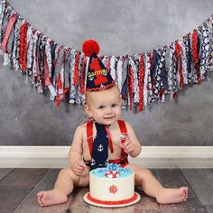 Personalized baby boy cake smash outfit,smash the cake outfit, photo outfit, first birthday Nautical, navy party, anchors with red trims