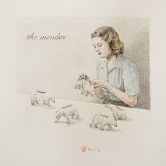 "Toni Hamel, ""The mender"" - graphite and watercolour on paper, cm, 2014 Bob Books, Art Toronto, Michael Thomas, Paper News, Canadian Artists, Art Fair, American Art, Painting & Drawing, Paper Art"