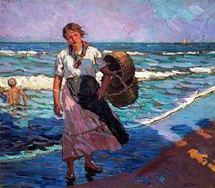 Alberto Pla y Rubio (Valencia, Spain 1867 – – bigart Spanish Painters, Spanish Artists, Amazing Paintings, Classic Paintings, Claude Monet, Valencia Spain, Painting People, Impressionist Paintings, Beach Art