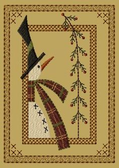 PK076 Frosty's Pine Version 1 - 5x7 - $8.00 : Primitive Keepers, Prim Machine Embroidery Designs