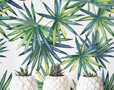 Aquarell Palm Monstera verlässt Wallpaper abnehmbar selbst