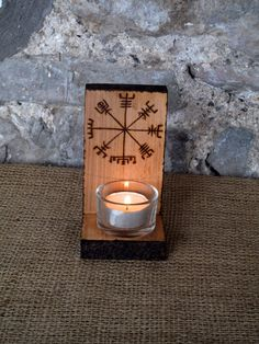 Vegvisir T-light Holder, Viking Compass wall sconce, tea light, candle, Voltive, Altar, Viking Decor, Norse, Pagan, Heathern, Asatru. by Touchwoodcraft on Etsy
