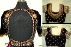Gold Work Blouses in Black | Saree Blouse Patterns