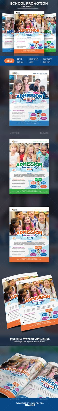 School Flyer PSD Template with Multiple Color Versions https://graphicriver.net/item/school-flyer/19451660?ref=themedevisers
