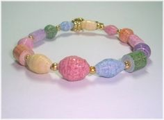Bright Sherbet Colors Paper Bead Stretch Bracelet size ♥ by itsmolly