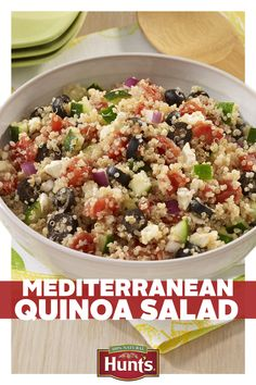 A side dish should always compliment the main course, but who said it can't be just as good too? Add even more flavor to dinner with Mediterranean Quinoa Salad, packed with Hunt's vine-ripened tomatoes. Mediterranean Quinoa Salad, Mediterranean Recipes, Greek Quinoa Salad, Lebanese Recipes, Vegetarian Recipes, Cooking Recipes, Healthy Recipes, Kale Recipes, Avocado Recipes