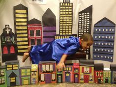 My 3 year old grandson's Superman birthday party. Thanks Pinterest for the inspiration for the Metropolis backdrop.