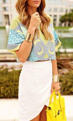Summer skirt. #summerstyle #summer2014 #womensfashion #style #whiteskirt #goldbracelet