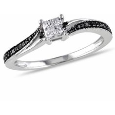 1/5 CT TW Black and White Princess Cut Diamond Engagement Ring in 10K White Gold with Black Rhodium