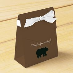 Rustic Bear Baby Shower Party Favor Box - This design features a cute rustic bear that is perfect with the rustic theme! Use for baby showers, birthdays, weddings etc...