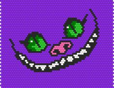 Cheshire Cat Face Bead Pattern | Peyote Bead Patterns | Characters Bead Patterns