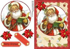 """Lovely Vintage Santa on Craftsuprint designed by Amy Perry - Lovely Vintage Santa on holly back ground with scalloped polka dot frame and flowers also has matching choice of tag """"Merry Christmas"""" and a blank tag for your own sentiment - Now available for download!"""