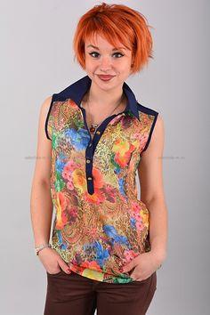 Блуза В0421  Цена: 490 руб  Размеры: 42-50    Полупрозрачный стильная блуза с отложным воротником.  Выполнено из легкого материала с контрастным рисунком.  Модель свободного кроя, без рукавов.  Состав: 100 % шифон.  Рост модели на фото: 156 см.  (маломерит на размер)     http://odezhda-m.ru/products/bluza-v0421     #одежда #женщинам #блузкирубашки #одеждамаркет