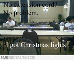 The funny ones... (funny,9gag,lights,christmas,lol,cord,extension,laptop,first world problems,solved)