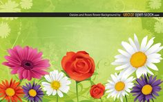 Daisies and Roses Flower Background free vector
