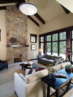 dark stained windows, base, beams.  Nice paint color, no white though.  White Trim Stained Windows Design, Pictures, Remodel, Decor and Ideas - page 12