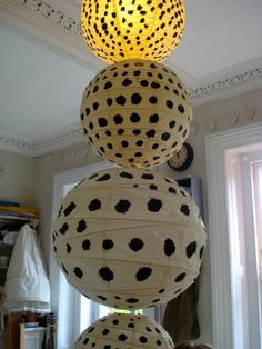 paper lanterns with spots
