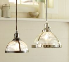 PB Classic Pendant - Ribbed Glass | Pottery Barn$149 larger pendant