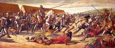 """La Pintura y la Guerra """"Atahualpa is captured by Pizarro at Cajamarca"""""""