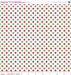 ON SALE Christmas Fabric  Small Christmas Dots   by SoTweetFabrics, $2.40