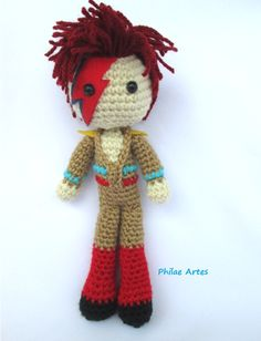 Amigurumi - Crochet doll - Croche - David Bowie - Ziggy Stardust