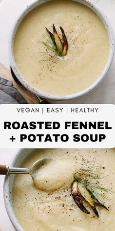 [original_tittle] – THE SIMPLE VEGANISTA [pin_tittle] Roasted Fennel & Potato Soup recipe features wonderful roasted fennel and potatoes pureed into a delicious creamy soup! Healthy, vegan and gluten free. Fennel Recipes, Soup Recipes, Whole Food Recipes, Vegetarian Recipes, Cooking Recipes, Pureed Recipes, Recipies, Simple Recipes, Healthy Recipes