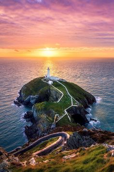 Sunset at the South Stack Near Holyhead
