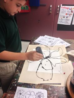 Learning about Shape and Line:     Organic and Geometric Third-grade artists examined the work of Paul Klee, looking closely at the symbols he used. Students chose between using stencils...