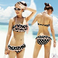 Pink 2pcs Set Ruffles Polka Dots Bikini Swimsuit Beachwear Halter Top Shorts 1G3